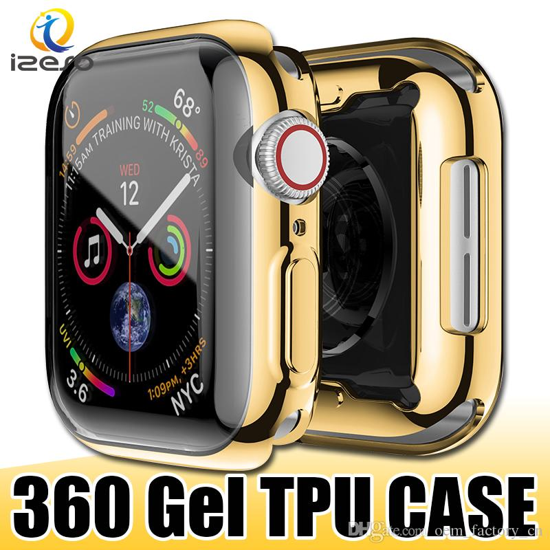 For Apple Watch Series 5 40mm 44mm Gel Electroplated TPU Watch Case Full Covered Watch Cover Protector for iWatch 5 4 3 2