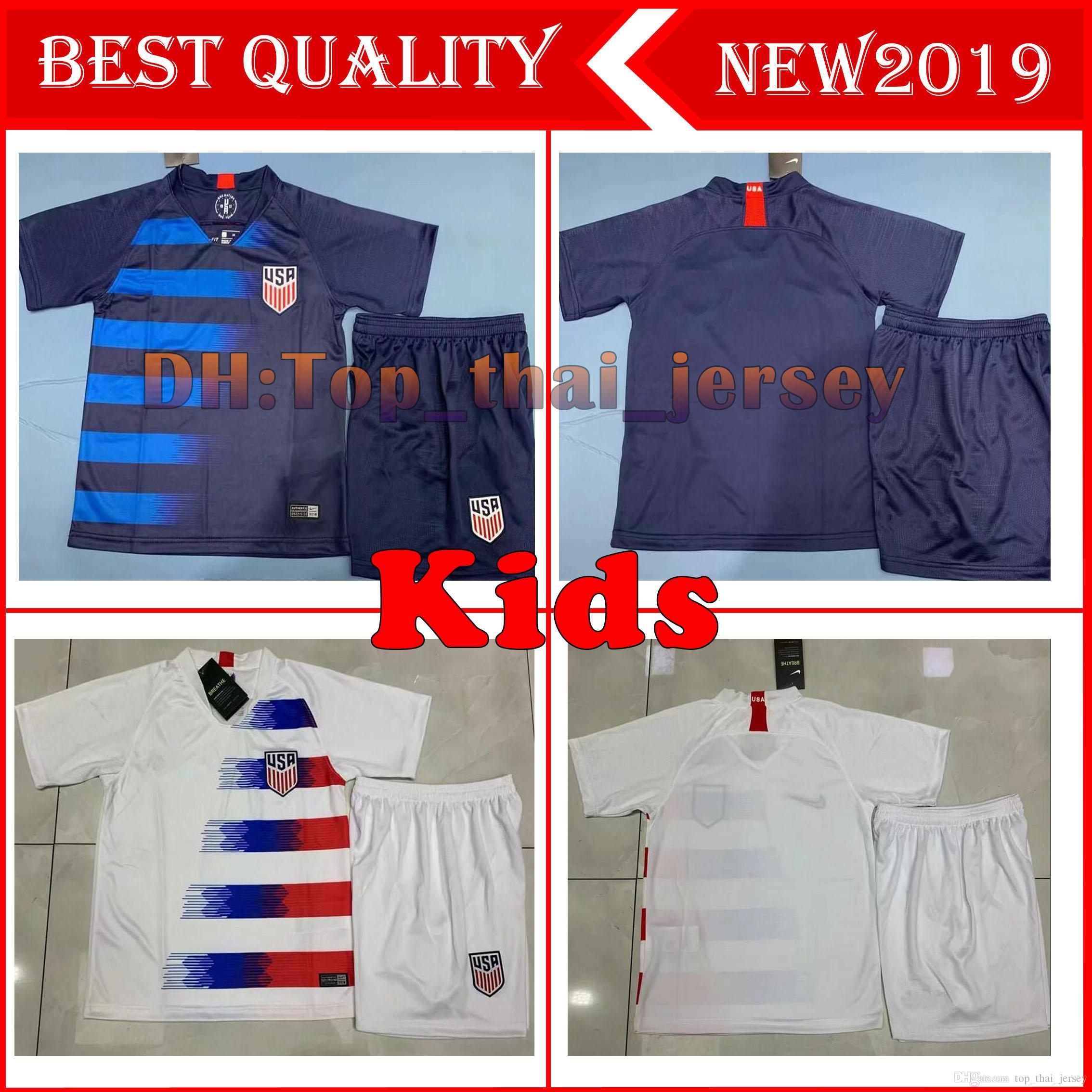 2d0b56868 USA Kids kits 2018 2019 PULISIC Soccer Jersey 18 19 DEMPSEY BRADLEY  ALTIDORE WOOD America child Football jerseys child United States Shirt