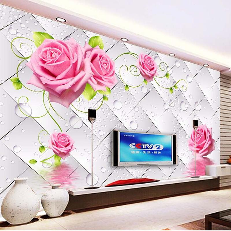 Fashionable Interior Design 3d Stereo Water Drop Flowers Mural