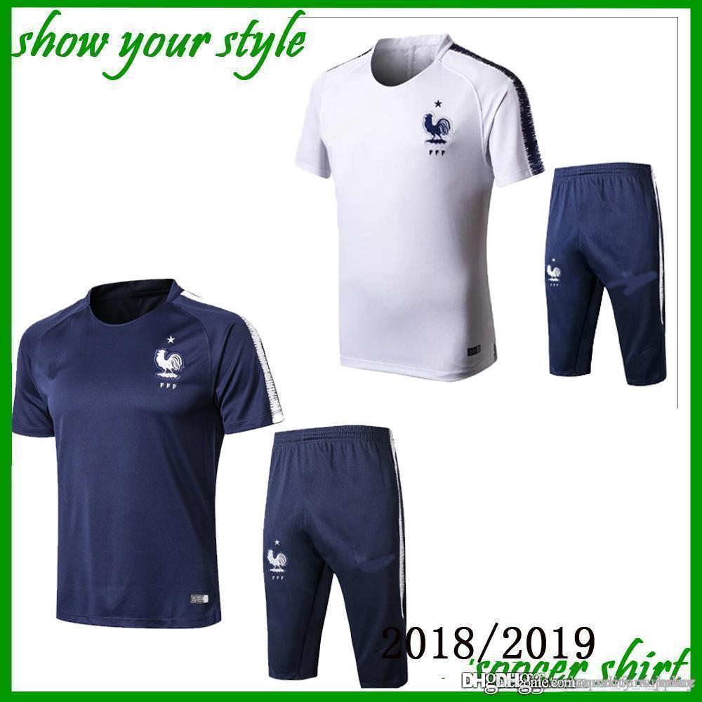 Compre 2018 2019 Francia Traje Corto De Entrenamiento Con Pantalones Cortos  Pantalones Divididos Con Bolsillos Con Cremallera En Ambos Lados A  24.74  Del ... 89a2c9ab3cbf2