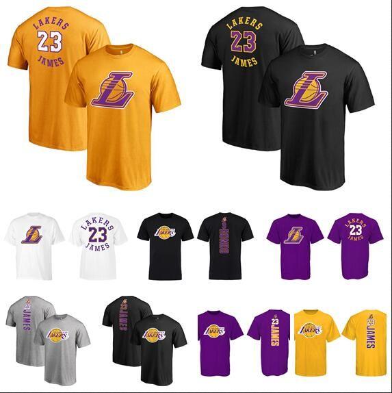 18-19 Season Men Women Youth 23 James Black Yellow White Purple Vertical  Version Name And Number Big Logo Basketball T-Shirt