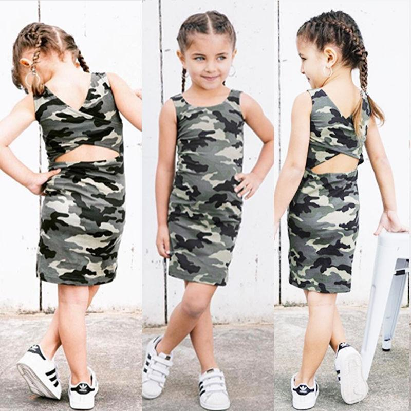 9cfeac54d2f6f 2019 Toddler Kids Baby Girls Camo Backless Dress Clothes Little Gilr Party  Casual Dresses Sundress Clothing Outfit From Kunmingaa, $13.07 | DHgate.Com