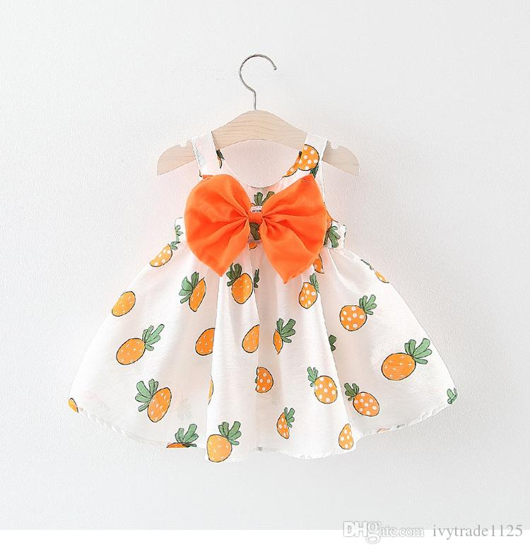 kids Girl designer clothes Dress Summer Sleeveless Pineapple Print With Bow Suspender Design Lolita Dress Princess Girl Clothing Dress