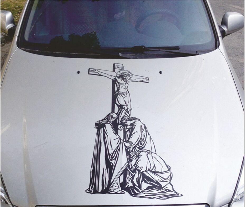 90*45cm Car modified Jesus hood stickers Door stickers cover car garland reflective personalized