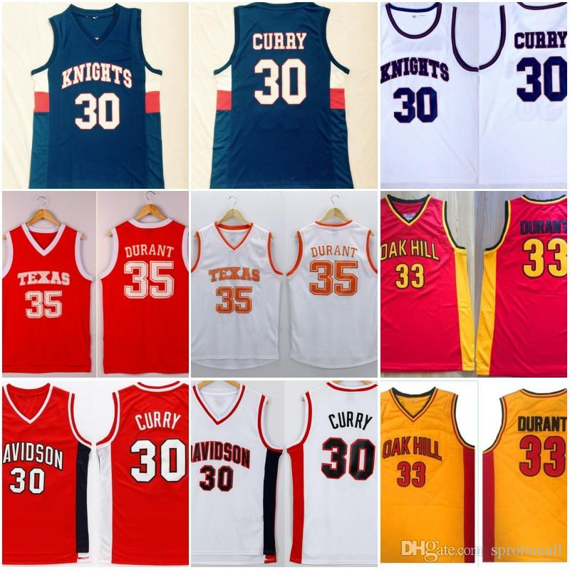new style 6b2fa dcfcb #30 Stephen Curry Davidson #35 Kevin Durant Texas College Basketball Shirts  Stitched Knights Oak Hill High School Basketball Jersey