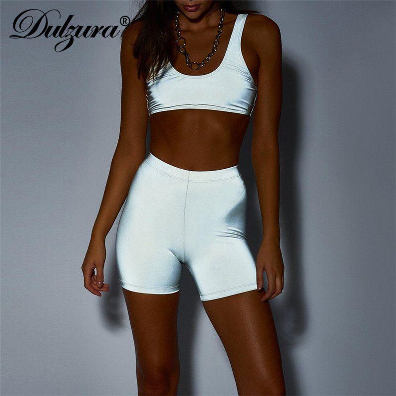 Dulzura Flash Reflective Crop Top Shorts 2 Piece Set Sleeveless Tanks  Fitness Autumn Winter Female Sportswear Streetwear Y19042901