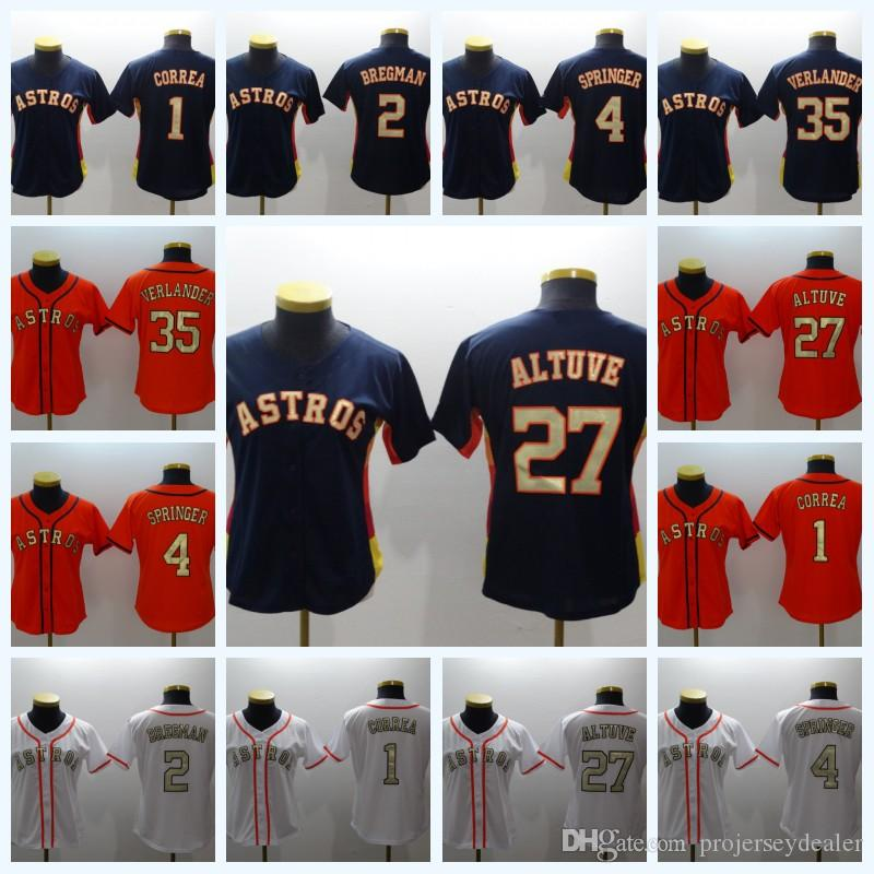 free shipping ee25d 9afd4 Womens 1 Carlos Correa 2018 Champions Gold Program Jersey 4 George Springer  27 Jose Altuve 35 Justin Verlander 2 Alex Bregman Houston Jersey