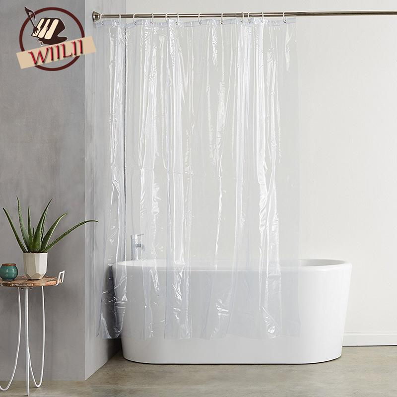 2019 Plastic PEVA Waterproof Shower Curtain Transparent White Clear Bathroom Luxury Bath With Hooks C18112201 From Mingjing03