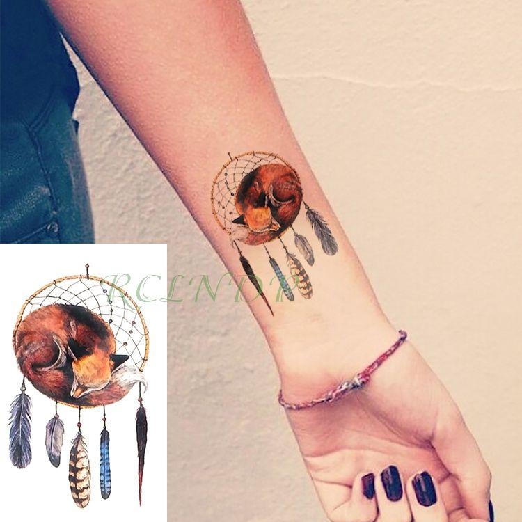 Waterproof Temporary Tattoo Sticker Dreamcatcher Fox Fake Tatto Feather Style Dream Catcher Flash Tatoo Tatouage For Men Women