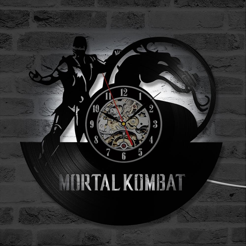 2019 Antieke Hollow CD Record Opknoping Klok Mortal Kombat Vinyl Handgemaakte Kamer LED Record Vintage Vinyl Wall Art Moderne Decoratie