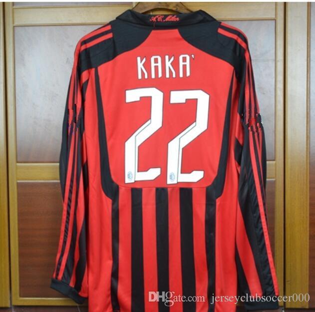 06 07 Milan Retro Soccer Jersey Kaka Inzaghi Gattuso Ronaldo Pirlo Seedorf  Vintage 1991 2006 2007 Calcio MAGLIA Camiseta Camisa Futebol Maillot Por ... e2446dfd6baac