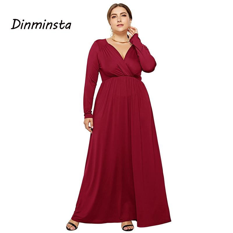 99aaab4d5f028 Dinminsta New Spring Women Dress Plus Size Deep V-neck Full Sleeves Ankle  Length Vintage Long Party Frocks Busty Female Vistidos