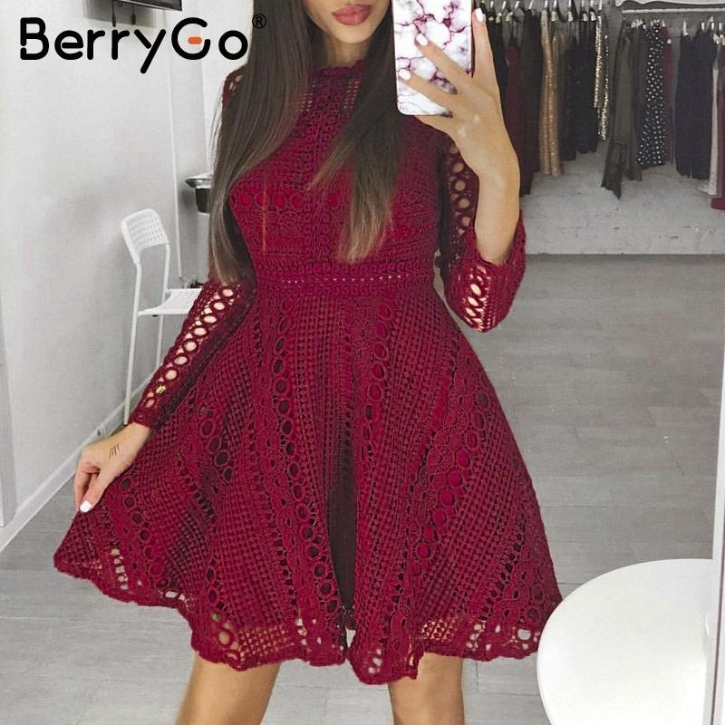 0127091b5431 2019 Berrygo Sexy Red Mini Lace Dress Elegant Long Sleeve Hollow Out Party  Dress Autumn Winter Women Dress Vestidos Robe Femme 2018 Y19012201 From  Shenyan01 ...