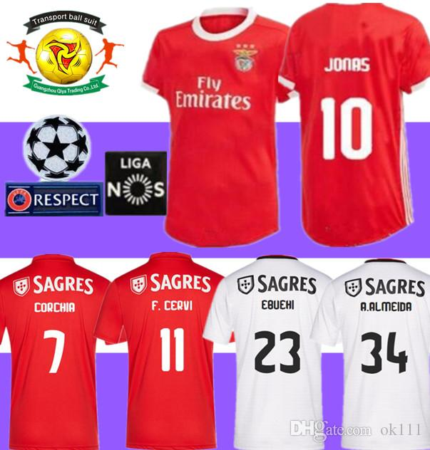 newest 0ac9e bcfc8 2019 2020 Benfica JONAS GABRIEL Soccer Jerseys 19 20 SL Benfica Home Red  SALVIO Football Shirts PIZZI JARDEL Jersey