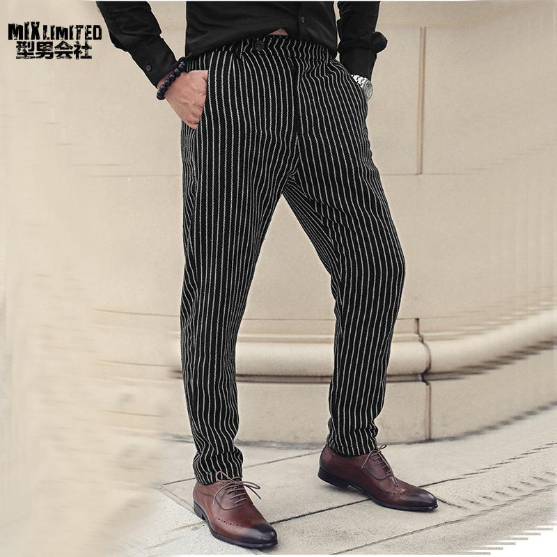 Men's New Winter Casual Vertical Striped Suit Pants Trousers Men's Woolen England Style Slim Fit Straight Business Trousers K927