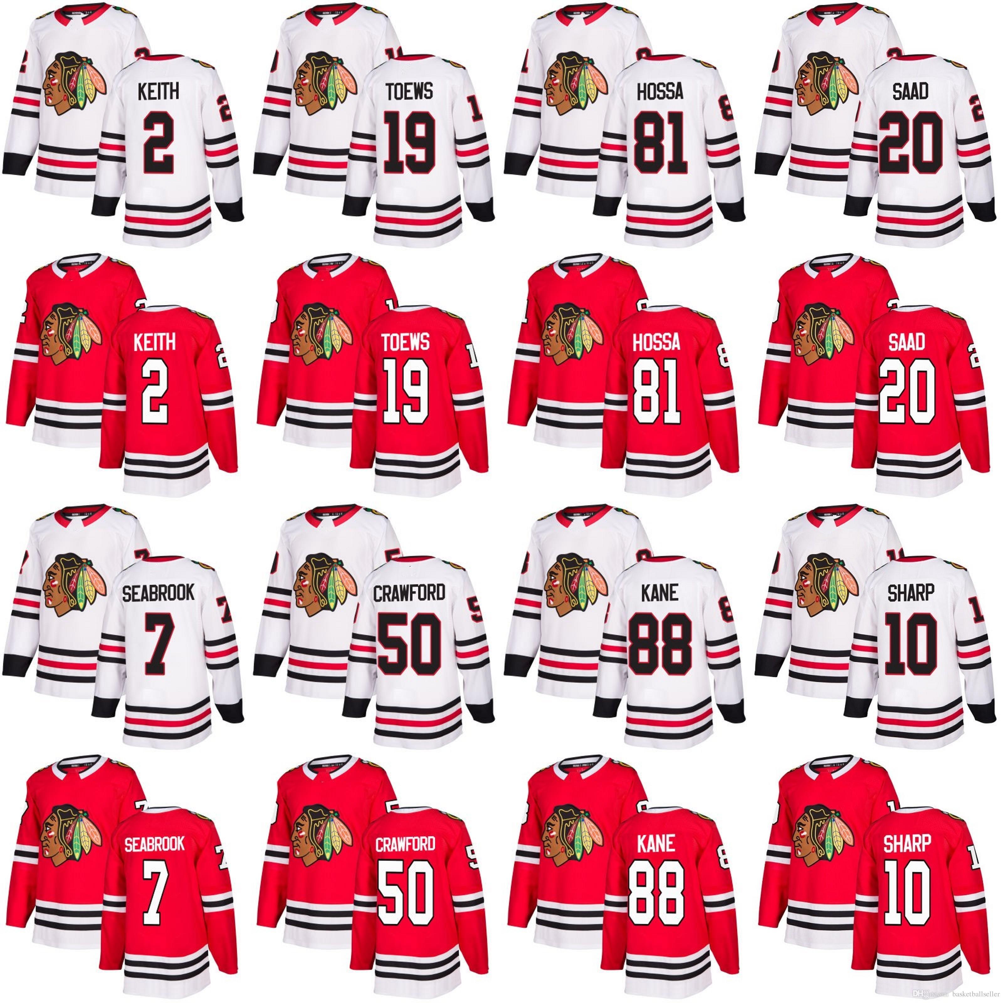 Men Chicago Blackhawks 88 Patrick Kane 19 Jonathan Toews 2 Duncan Keith 20  Brandon Saad 50 Corey Crawford 14 Panik Hockey Jerseys Patrick Kane Jonathan  ... fb25119301041