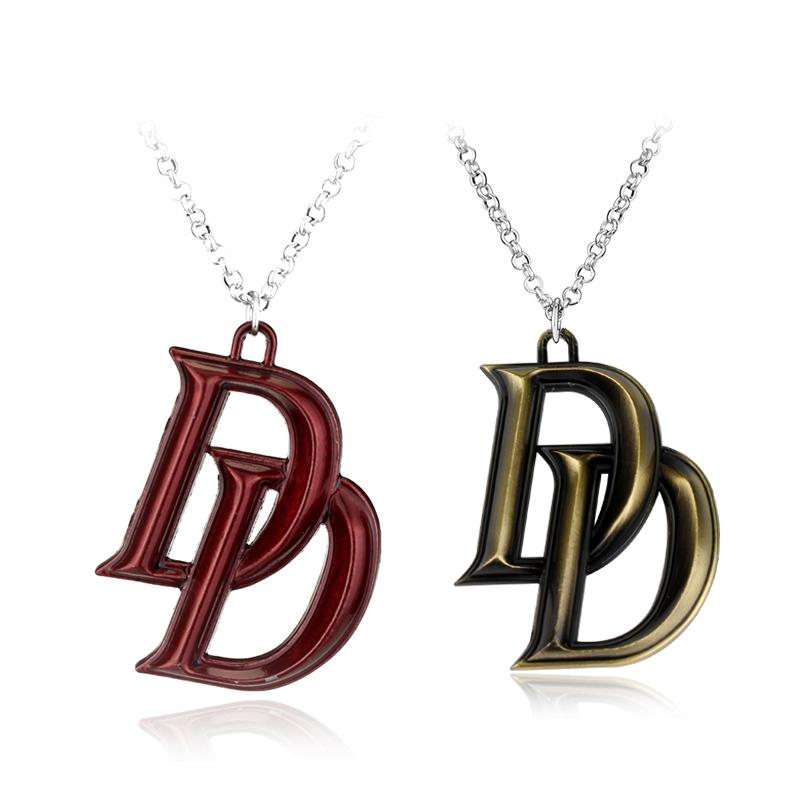 Movie Series Marvel Jewelry Comics Superhero Daredevil Double D Letter Necklace Latest Fashion Accessories Gift
