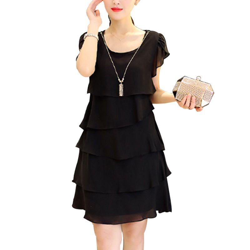 a4b5ca1971 Compre 2018 Mujeres Del Verano Vestido De Gasa Tallas Grandes Vestidos 5XL  Damas Elegante Mujer Vestido De Cóctel Casual Fiesta De La Vendimia Negro  Rojo ...