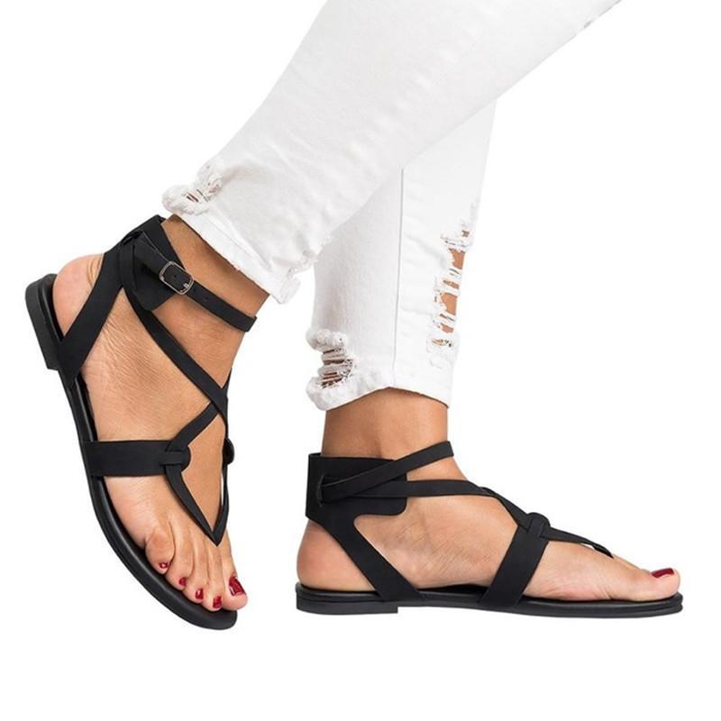 34f464e7387 Compre Yu Kube Zapatos De Verano Sandalias De Mujer Correa De Tobillo  Elástica Plana Sandalias Mujer 2019 Señoras Sandalias De Gladiador De Tiras  Más Del ...