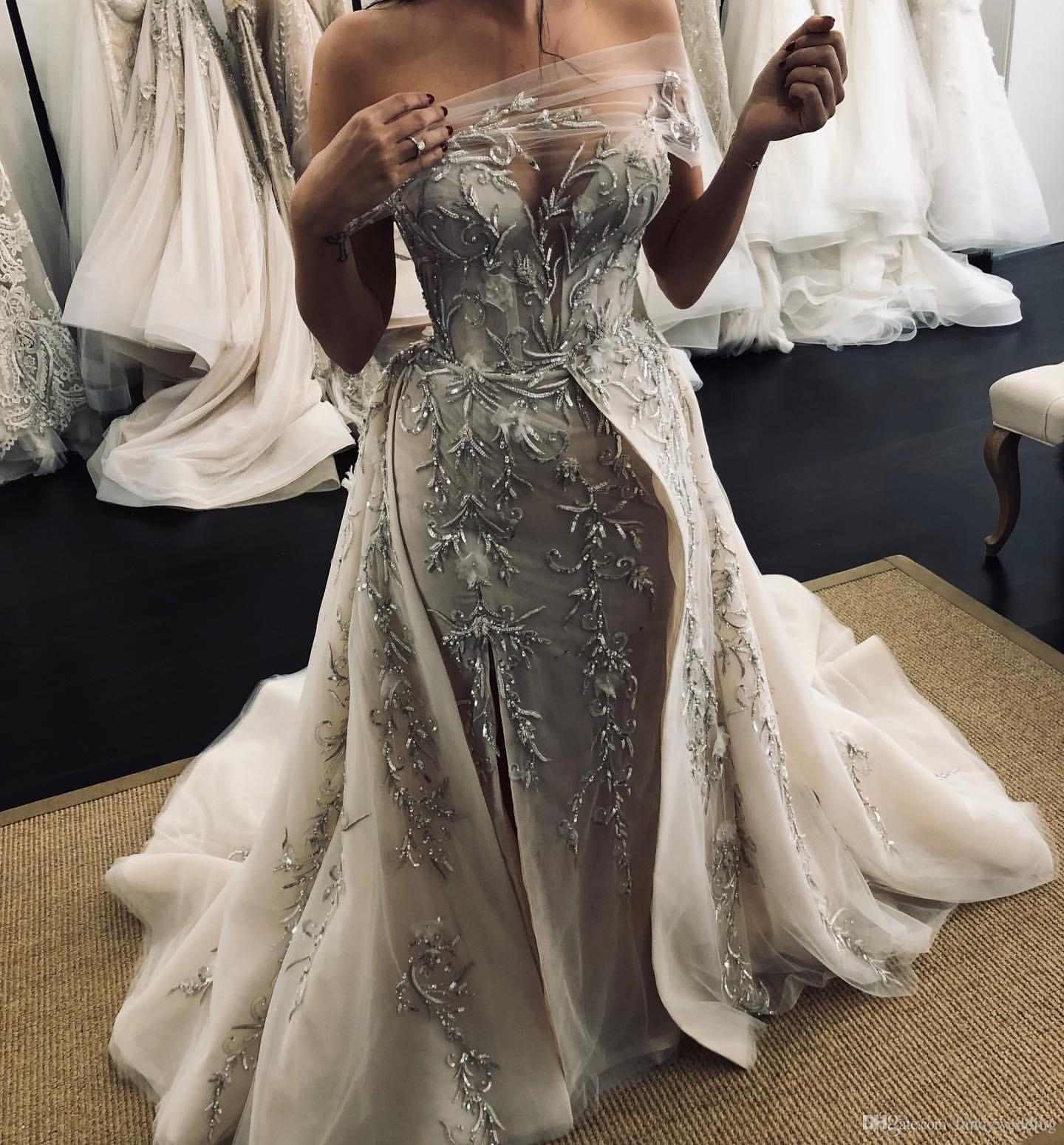 2019 Arabic Sexy Sheath Wedding Dresses Sweetheart Embroidery Beaded Sequins Bridal Dresses Sexy Cheap Wedding Gowns ZJ154
