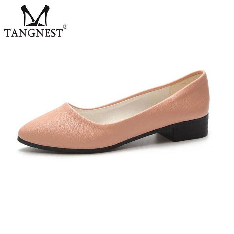 4aef3ba68b115 Compre Zapatos De Vestir De Diseñador Tangnest NUEVO Punta Estrecha Del  Color Del Caramelo De La PU Cuero De Tacón Bajo Casual Mujer Suave Mocasines  Cómodos ...