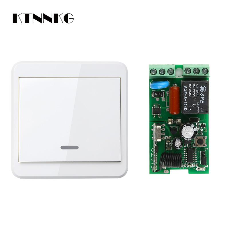 220V Wireless Remote Switch 1CH Relay Receiver DIY Smart Home Motor Controller Wall Panel Transmitter Hall Bedroom Light TX 10A