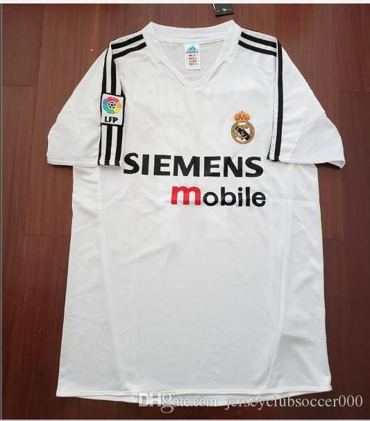 80ae8eff0 Compre 04 05 Real Madrid Futebol Jersey R.Carlos Zidane Raul Ronaldo Figo  Owen Guti Beckham 2004 2005 Real Madrid Do Vintage Camisas De Futebol  Futebol De ...