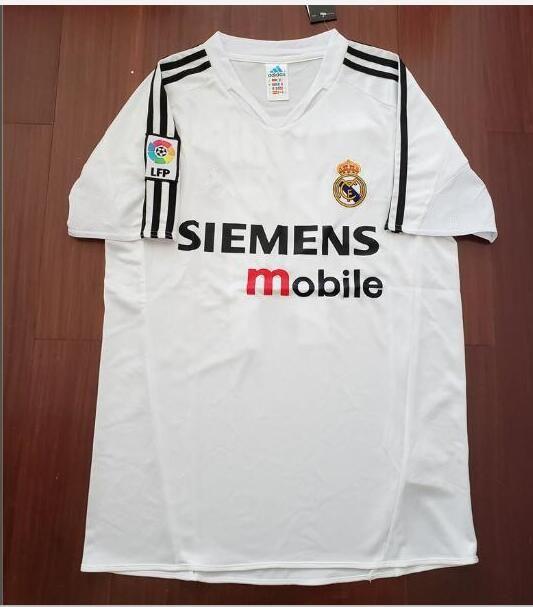 14733037b42f3 2019 04 05 Real Madrid Soccer Jersey R.Carlos Zidane Raul Ronaldo Figo Owen  Guti Beckham 2004 2005 Real Madrid Vintage Footbal Shirts Soccer From ...