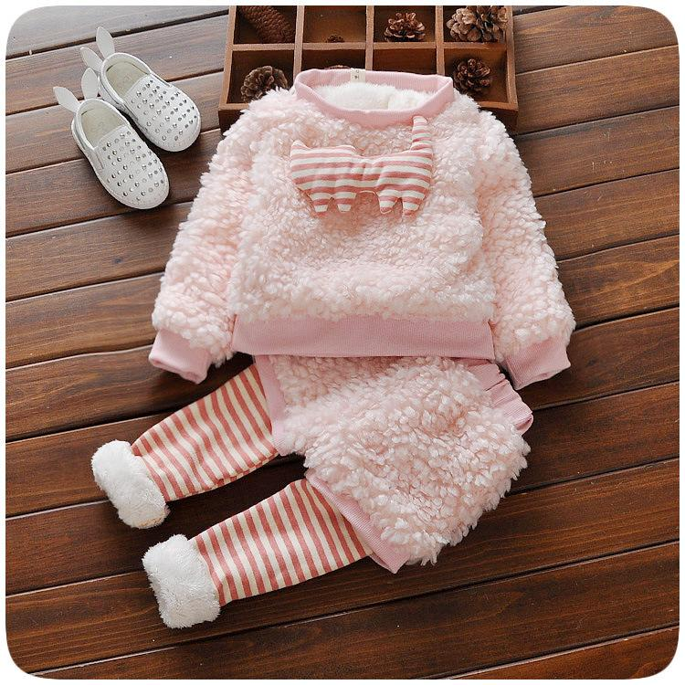 Baby girl warm clothing sets winter newborn cotton fashion thick velvet top+pants 2pcs tracksuits for bebe toddler birthday suit