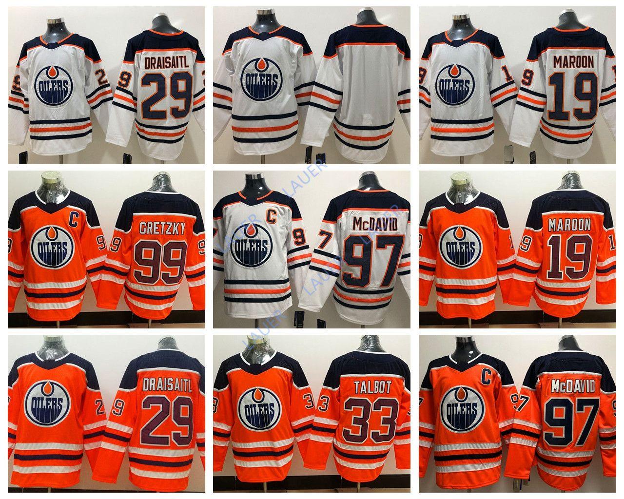 check out 430c9 ab8be Edmonton Jersey Oilers #97 Connor McDavid 29 Leon Draisaitl 19 Patrick  Maroon 33 Cam Talbot 99 Wayne Gretzky Stitched Ice Hockey Men