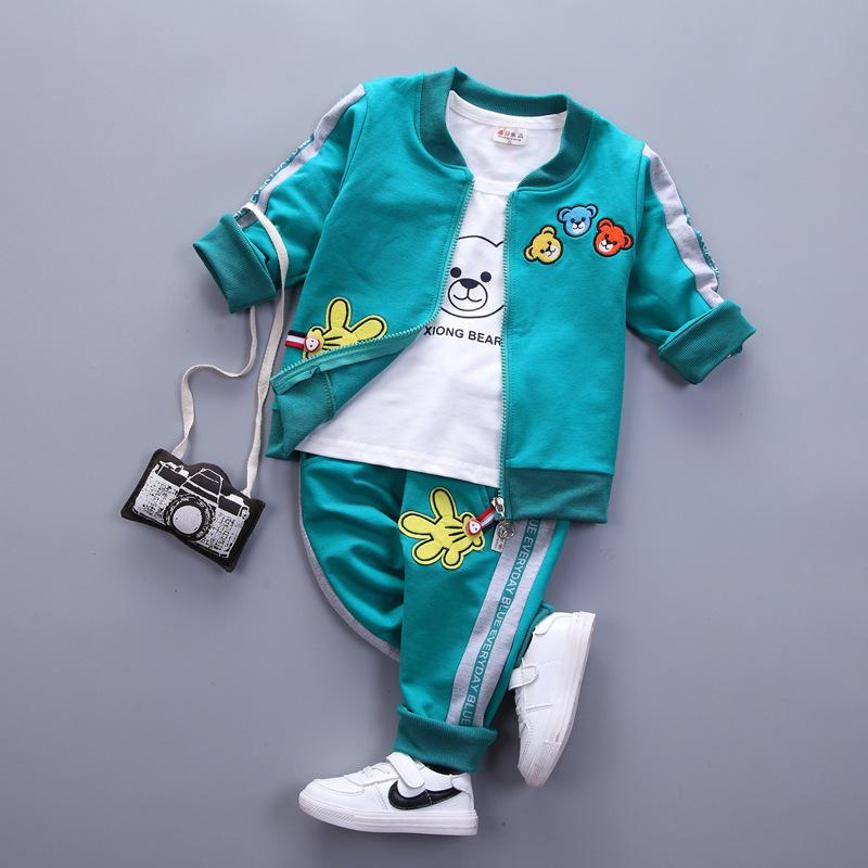 e90af9ebbfb1e 2019 3 PSC Baby Boys Sets Newborn Spring Autumn Cartoon Bear Long Sleeve  Coat+T Shirt+Pants Infant Sport Suit Girls Clothing Sets From Textgoods09