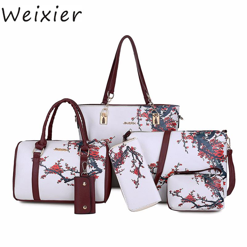 373f5c670e WEIXIER New Women PU Leather Handbags Women Printed Bags Designer Set  Shoulder Crossbody Bags For Big Tote ZK 13 Evening Bags Leather Goods From  Leafie