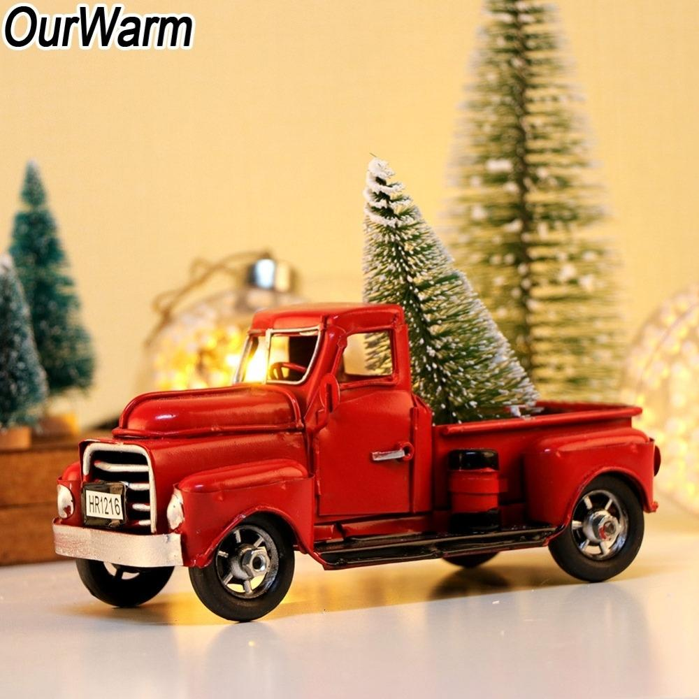 OurWarm Christmas 2018 Little Red Truck Table Top Decor New Year's Products for Kids Metal Vehicle Car Model with Movable Wheels SH190910
