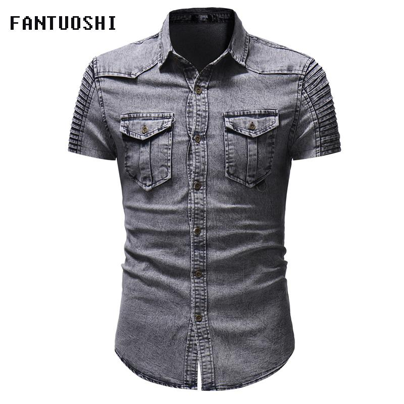 e48c8e763d0 2019 Summer Mens Shirts Men Leisure Square Collar Cowboy Shirt  Fashion Male  Slim Fit Pure Color Cotton Short Sleeve Shirt M 3XL From Sadlyric