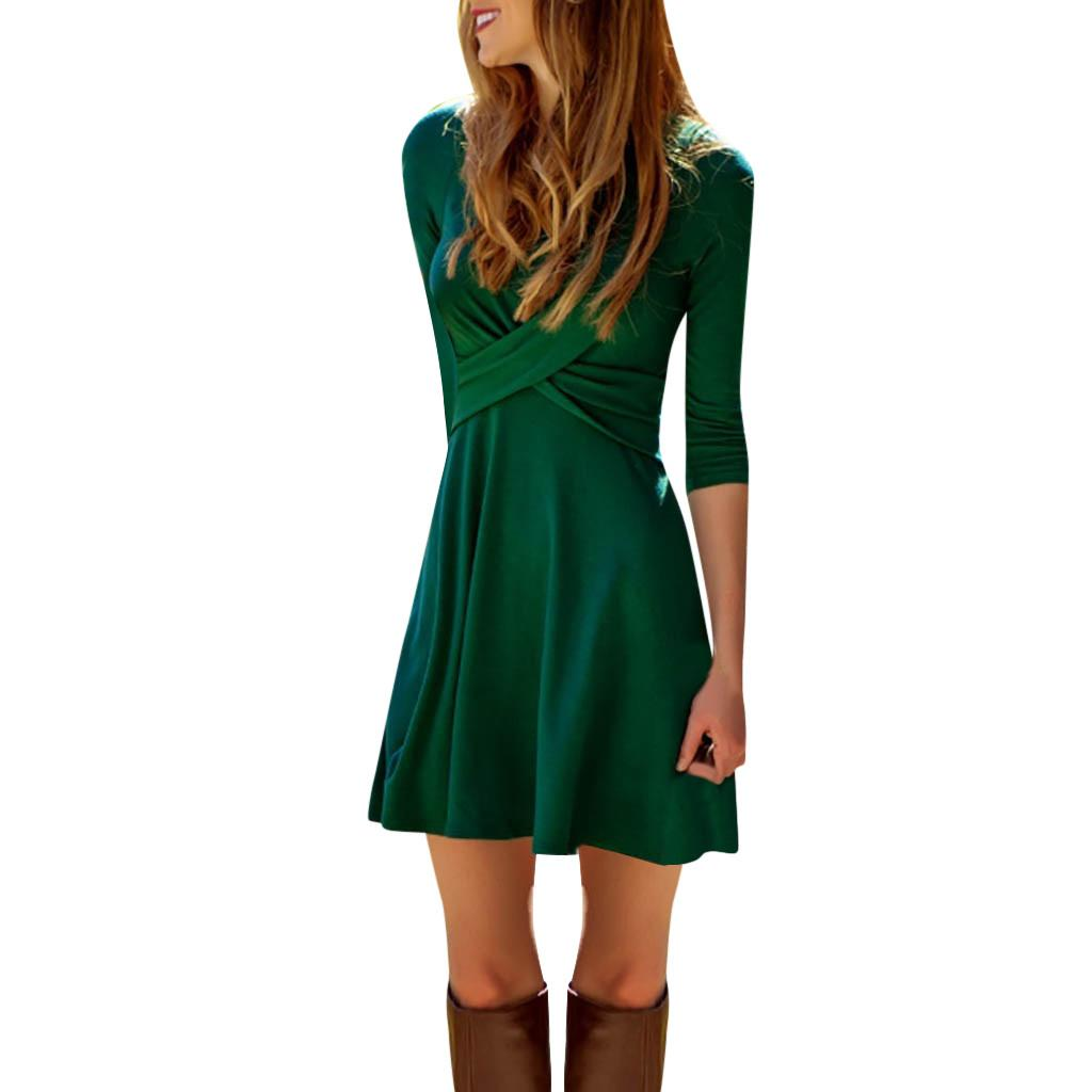e9f6ea2c0d87a2 Dress Women Sexy Cross Front V Neck Mini Ladies Long Sleeve Casual Slim  Waist Dress Feitong Elegant Solid Fashion 2019 Party Long Dresses For Women  Tight ...