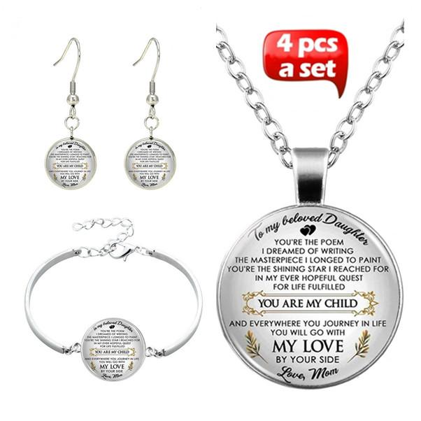 57095561acf My Beloved Daughter Glass Cabochon Necklace & Earrings & Bangle Set(Totally  4 Pcs)