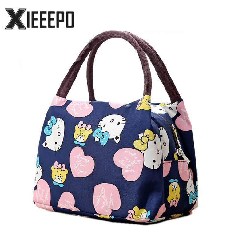 5a234957e514 2019 Girl Cartoon Hello Kitty Lunch Bag Portable Insulated Cooler Bags  Thermal Food Picnic Lunch Bags Women Kids Lunch Box Tote C18112802 From  Mingjing03