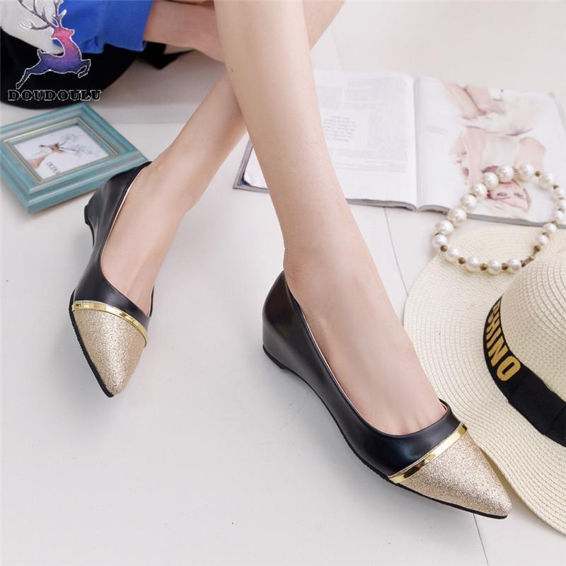 05b69175 Diseñador de zapatos de vestir de las señoras de las mujeres de moda  Artificial PU lentejuelas Shallow punta estrecha Casual tacón bajo mujer ...