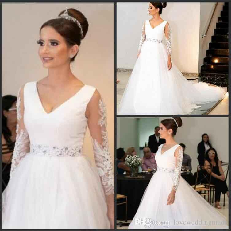 Plus Size Wedding Dresses With Sash Beaded long sleeves Appliqued Tulle Floor Length Custom MAde Sexy V NEck Beach Wedding Dress