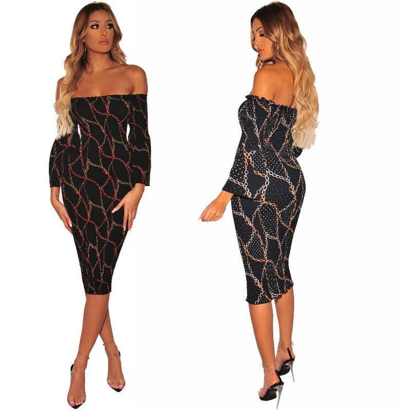 c2cd06f85e 2019 Sexy Printed Party Nightclub Dress Long Sleeve Strapless Womens Dress  Package Hip Pencil Dresses Off Shoulder Bodycon Dresses From Wuarray