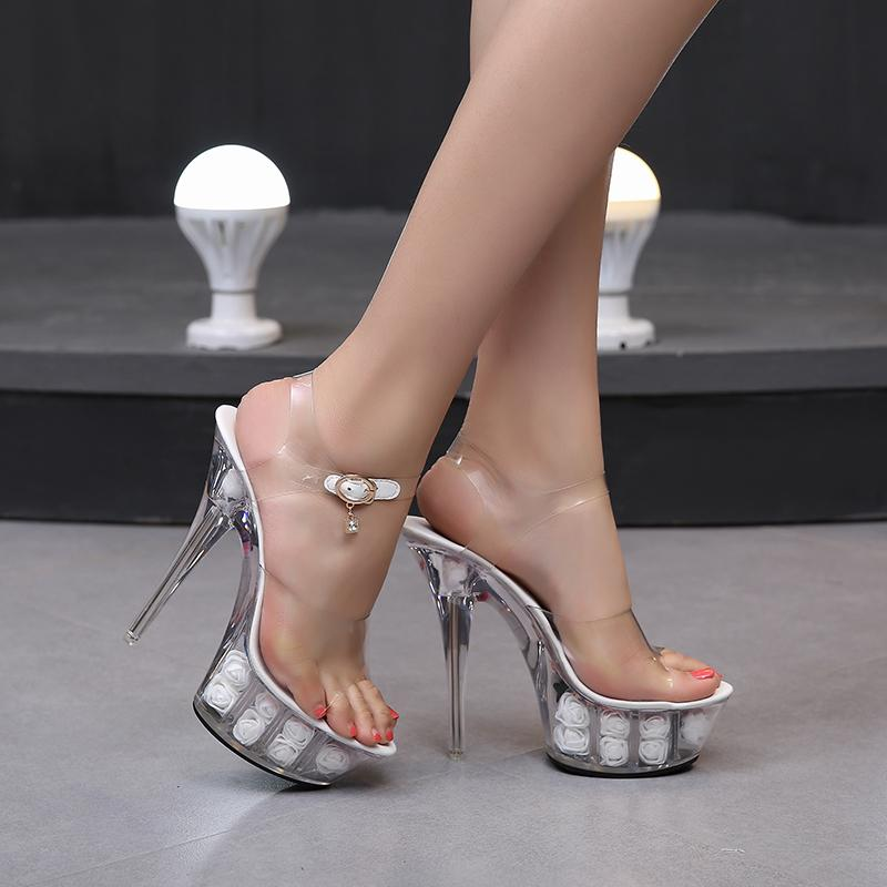 6ad939f2cb7 Shoes Woman New 2019 Summer High Heels 15cm High Thin Heels Rose Flowers  Transparent Crystal Sandals Feminina Ladies Wedge Boots Comfortable Shoes  From ...