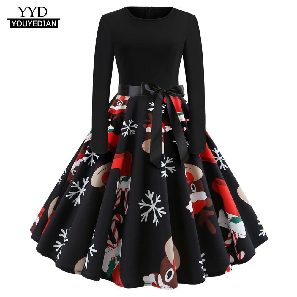 79e01a50aac7 Christmas Dress Women Vintage Print Long Sleeve Christmas Evening Party Swing  Dress Elegant 9 Style Robe Noel Femme Vestidos Dresses Cheap Dresses  Christmas ...