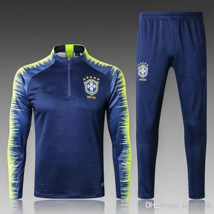 France Survêtements Brasil Survêtement 2018 2019 Football CBF Veste Jogging NEYMAR JR MBAPPE GRIEZMANN RONALDO Combinaison