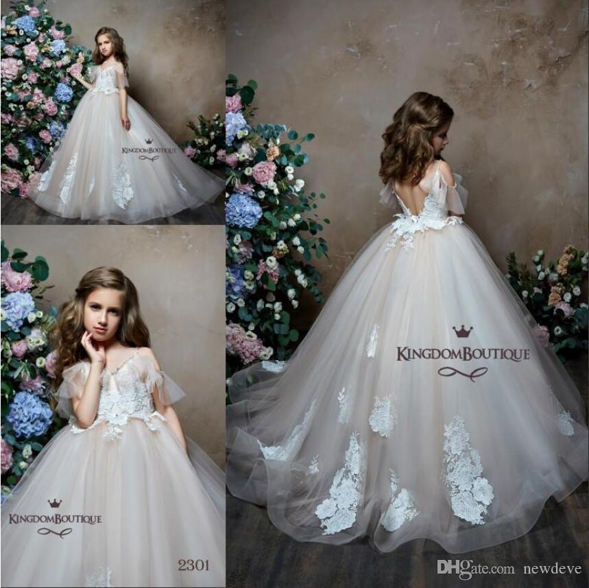 485cd8f8a6 2019 Princess Flower Girls  Dresses Birthday Gowns Lace Appliques Bohemia  Girls First Communion Dress Formal Prom Party gown Pageant Dresses