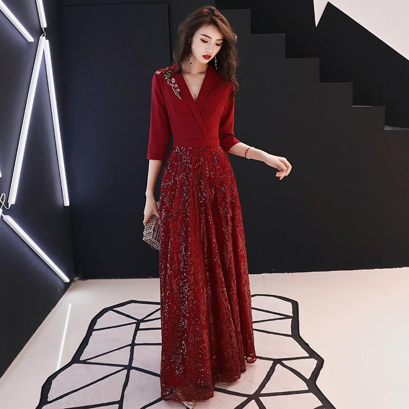 Evening Party Dresses Women Vintage Chic Sequin Sexy Deep V Long Dress  Embroidery Retro New Year Vestido Female 2019 Ladies Dresses Styles Dresses  Dresses ... 42ca82da7f9d