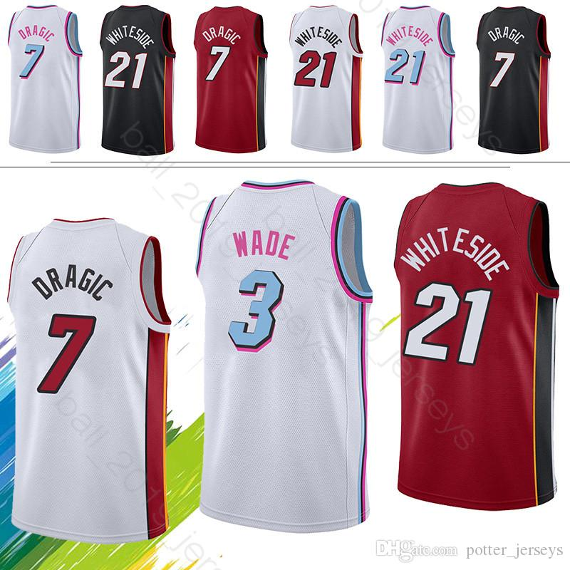 buy popular d06e1 bcb8c Dwyane 3 Wade jersey Miami Goran 7 Dragic Heat jerseys Hassan 21 Whiteside  Maillots de basketball
