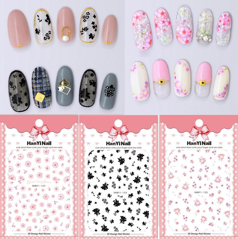 HANYI153 155 New Flower 3D Nail Applique With Adhesive Back Nail ...