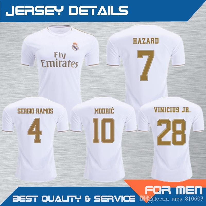 new concept aa240 12b92 2019 Real Madrid Home Men Soccer Jersey #7 HAZARD Name Sets Printed MODRIC  SERGIO RAMOS ISCO Soccer Shirts Football Uniforms