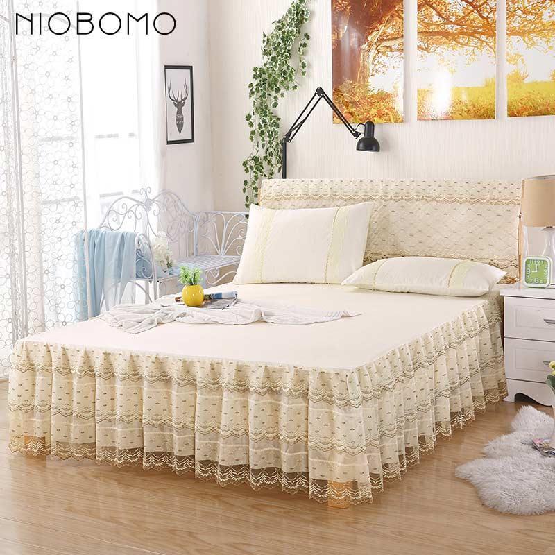 Niobomo Yellow Soft Warm Bedding Skirt Single Double Bed Skirt Cover