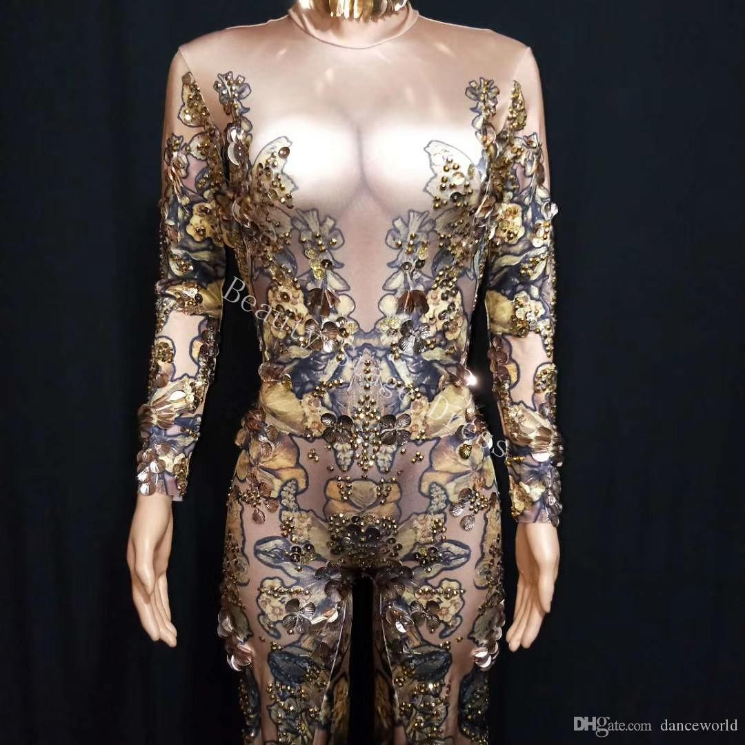 493102361e29 Skinny Gold Rhinestones Rompers Female Singer Dancer Big Pants Costume  One-piece Bodysuit Nightclub Oufit Party Jumpsuit Stage Wear DS Outfit  Stage Wear ...